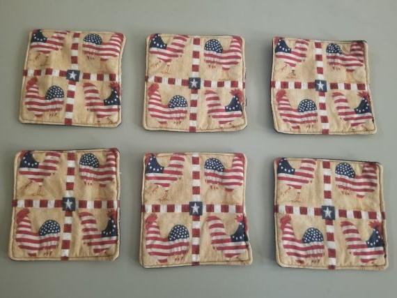 Patriotic Chicken Coaster Set