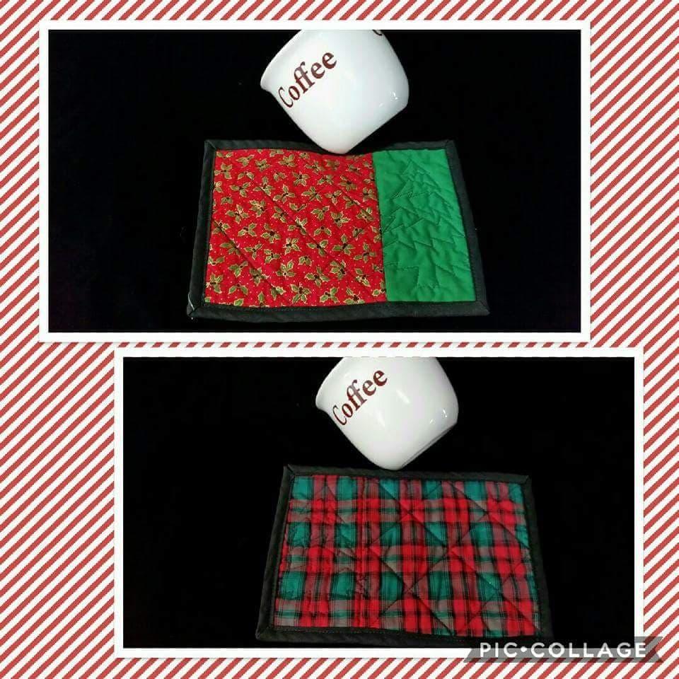 Hollies and Christmas Tree Mugrug/Coaster