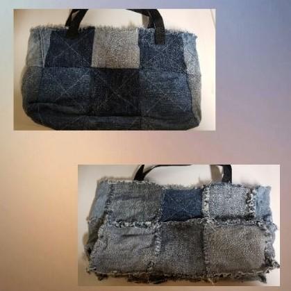 Reversible patch denim bag