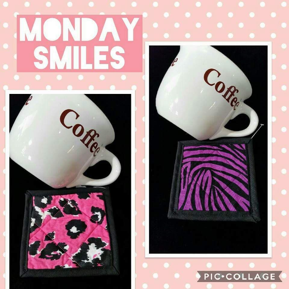 Pink Cow Print Fabric Coaster